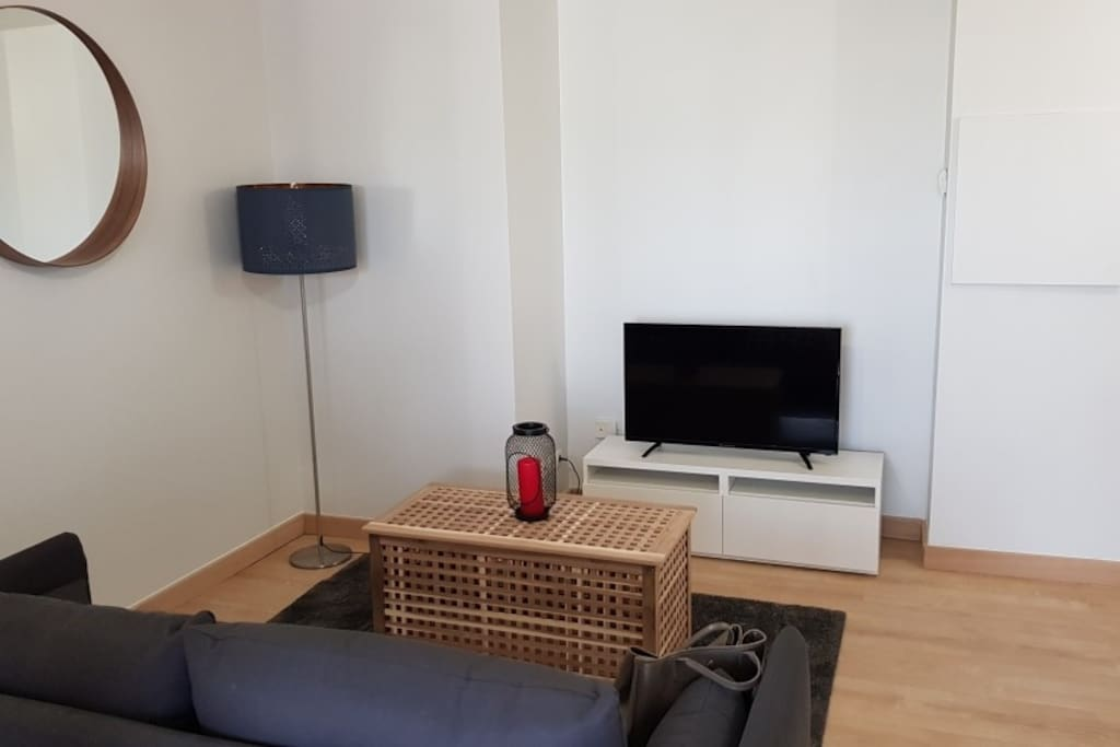 Bright living room with couch and flat screen TV