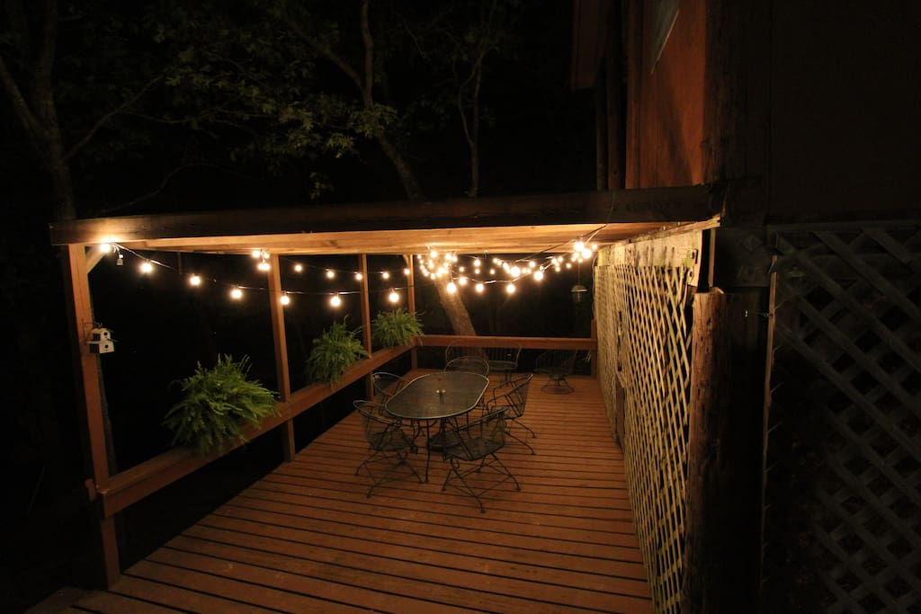 North deck with lights, and refrigerator