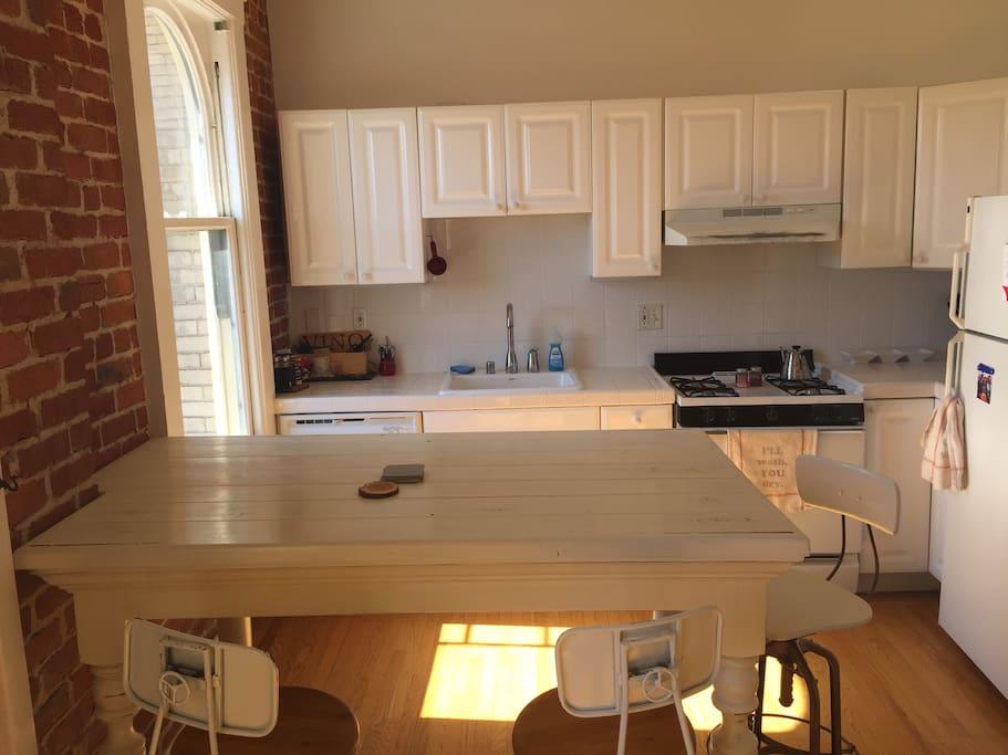 Custom built farmhouse table that can seat 5