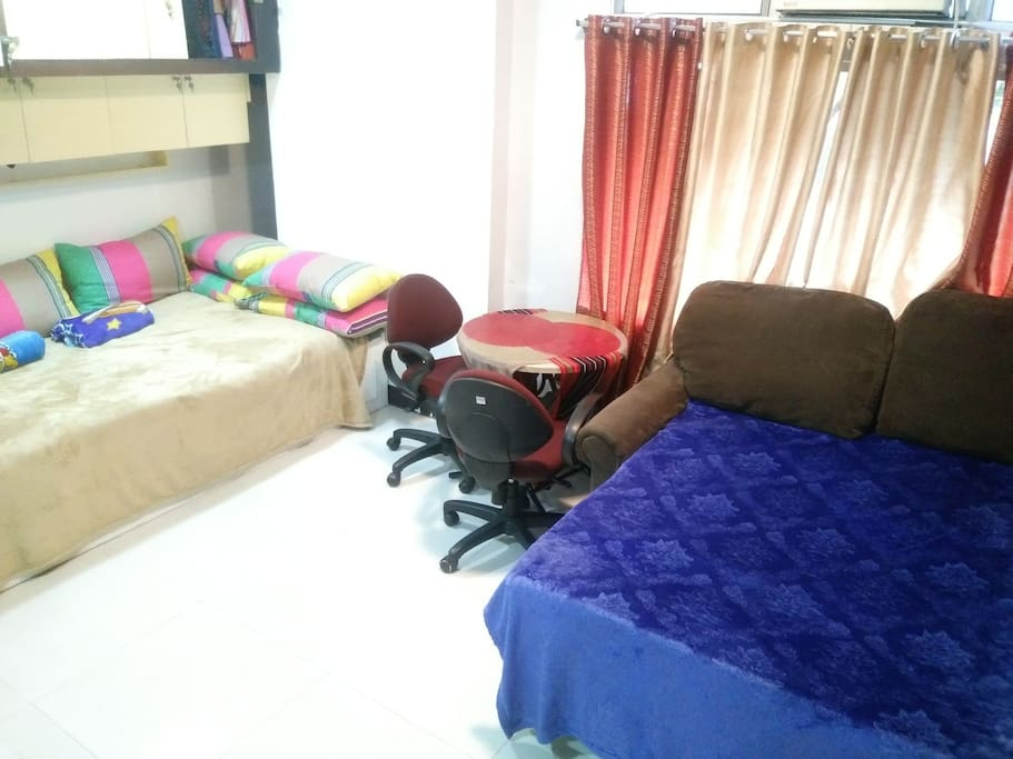 we have sofa bef & one bed with pull out bed & foam on top to make you more comfortable & enjoy your staycation in our place
