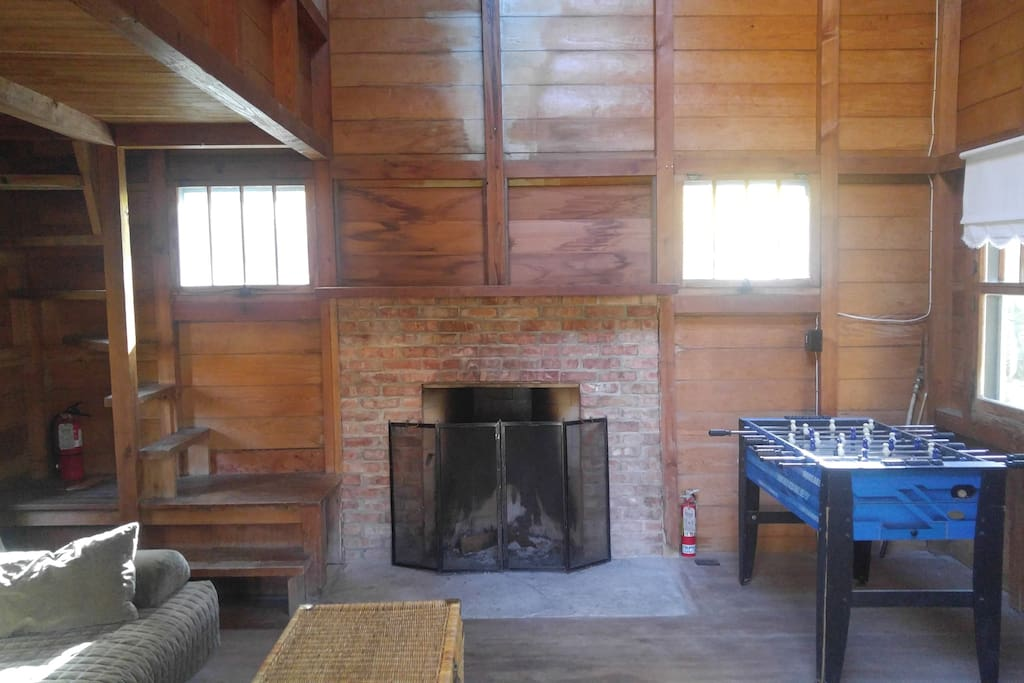 Family room has natural fireplace.