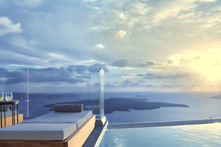 Villa Ioli with shared infinity pool - Thira