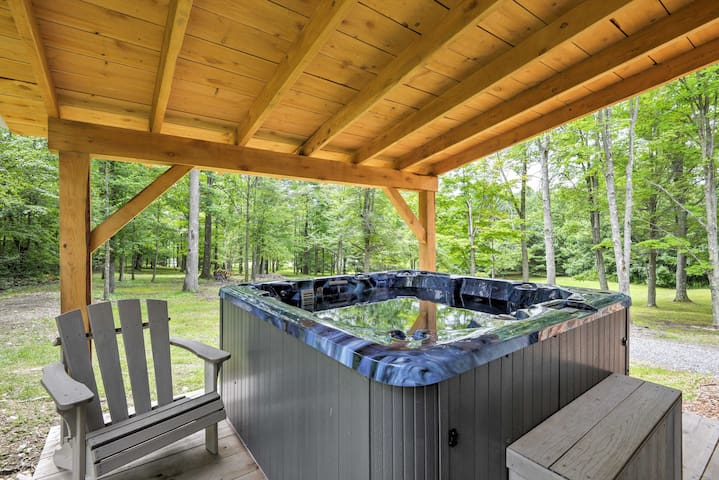 The 8-person hot tub is the ideal place to unwind after a fun day!