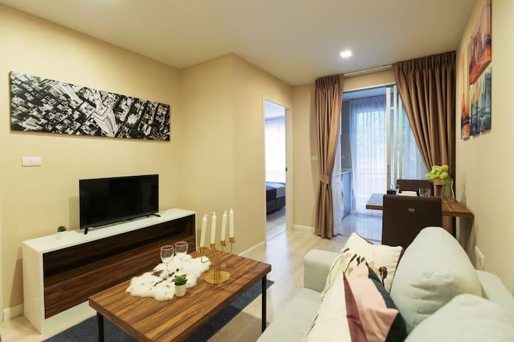 曼谷大学旁 安静的一居室公寓 双人度假的不赖之选 bkb139