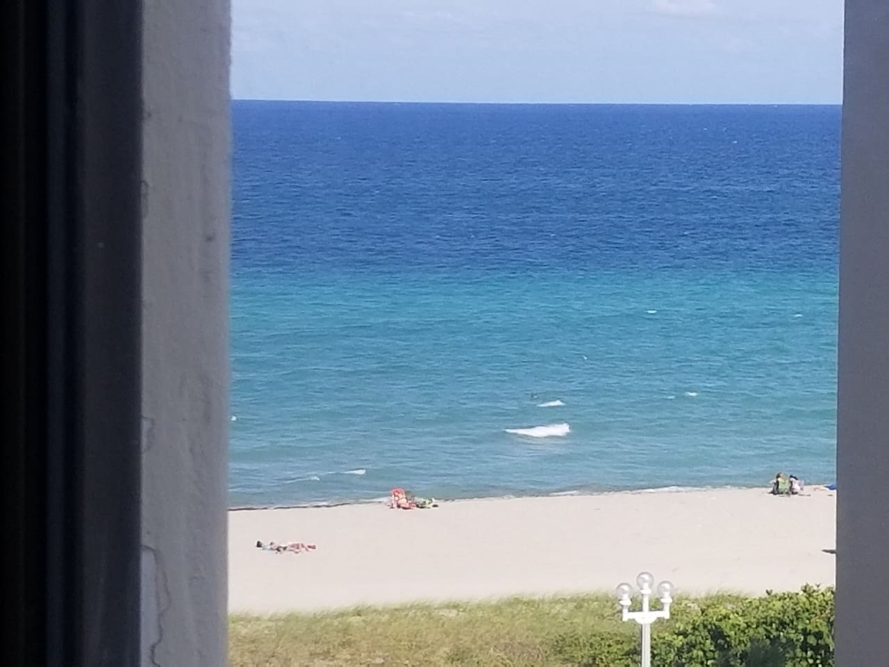 View of the beach from the window.