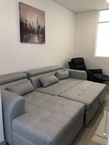 Sofacama en cuarto de televisión (espacio abierto)