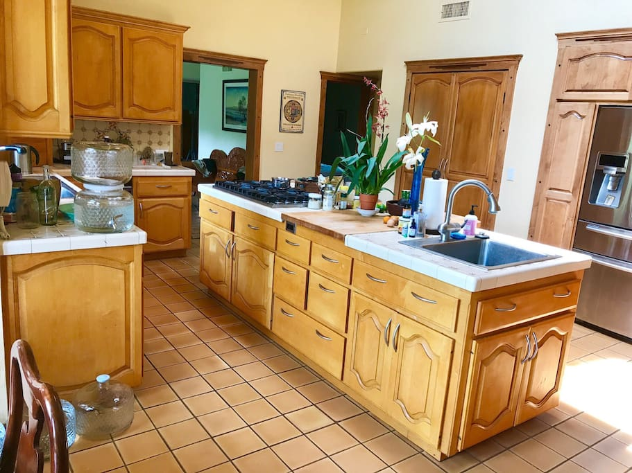 Another view of kitchen. Drink out of our charged Water of Life jugs