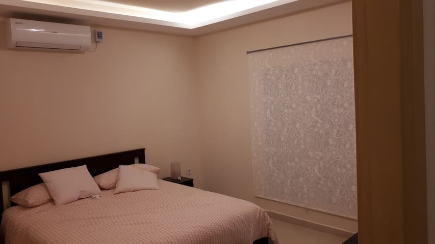A view of the second bedroom with it own AC unit