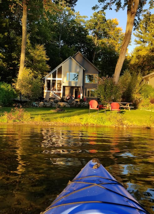 Late summer before dusk is a great time for a kayak ride.