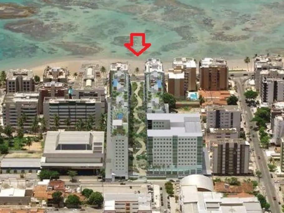 Vista de cima da exata localização do condomínio
