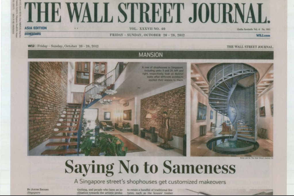 Featured on Wall Street Journal as part of the Lorong 24A Shophouse Series