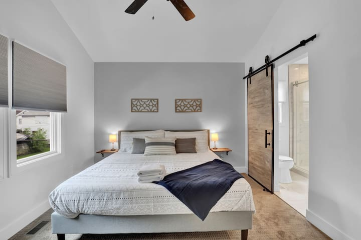 King Bedroom with On-Suite Full Bathroom; Walk-in Shower!