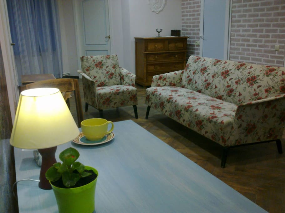 Уютная общая комната с кухней и wi-fi