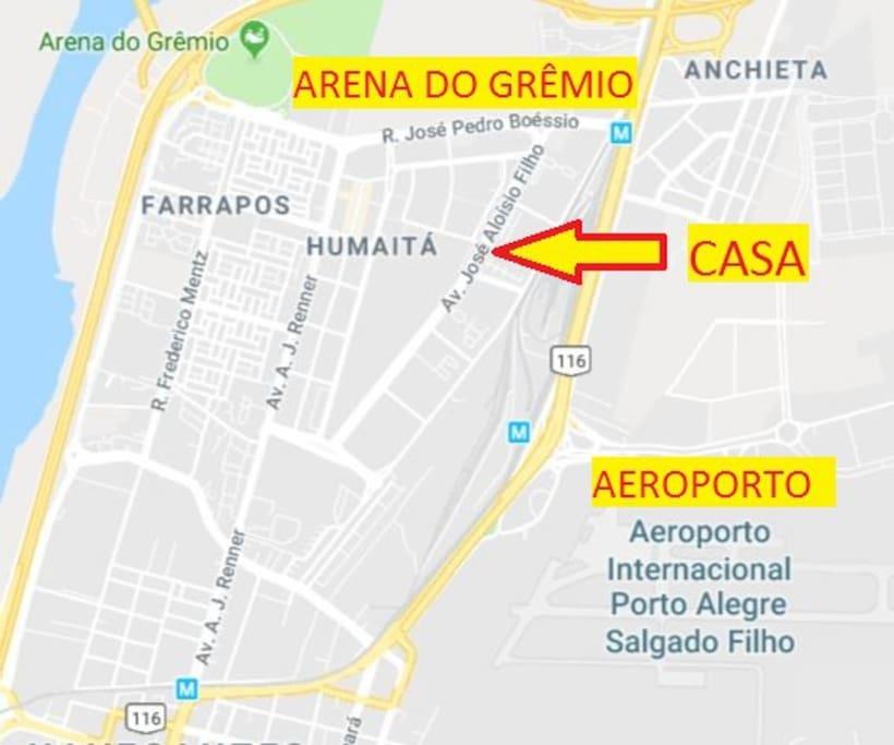 Perto do Aeroporto e da Arena Grêmio
