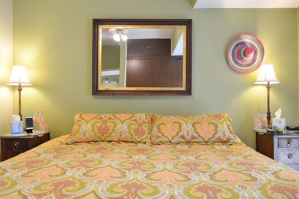 The room looks small with this large bed, but most people enjoy it for what they need-a good rest.