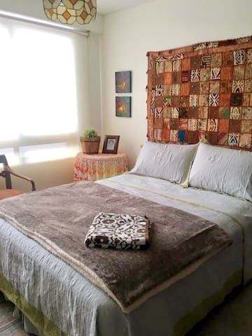 Double bed room with TV