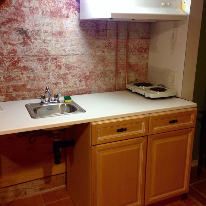 Kitchenette: Newly Renovated, New Cupboards, Open Faced Bricks