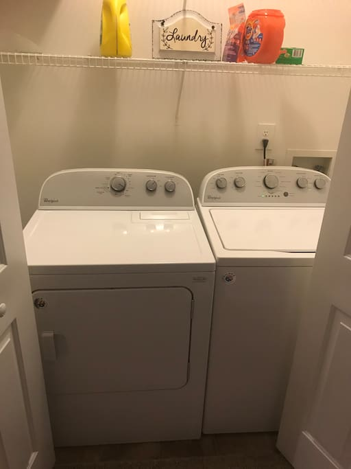 Washer and dryer complete with detergent and fabric softener!!!