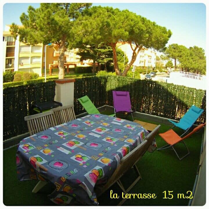 Studio + terrasse 15m² proche mer