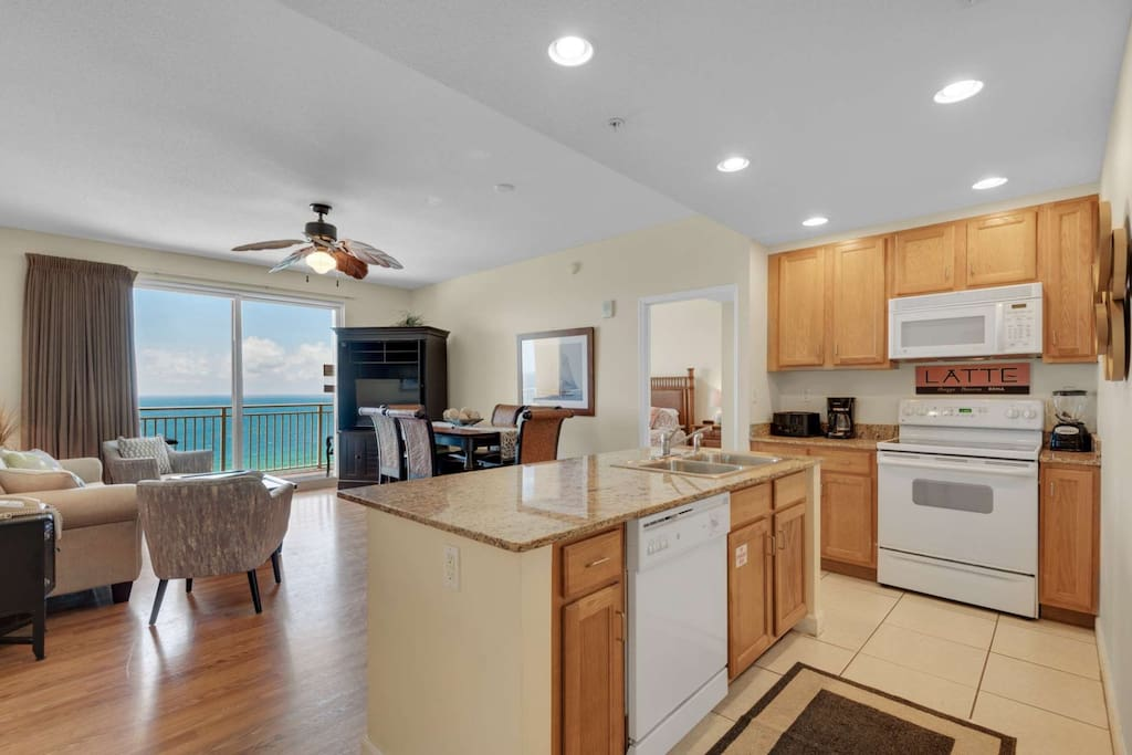 Fully equipped kitchen with center island.