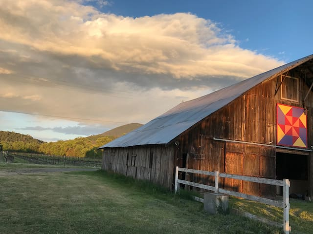 Beautiful evening skies over the barn