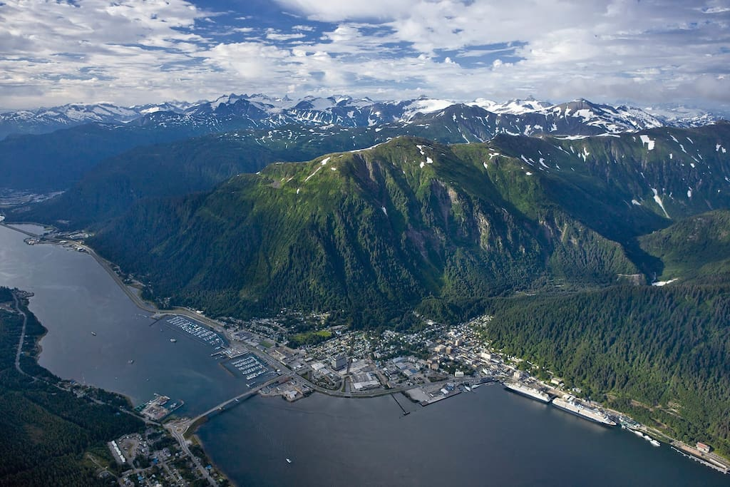 Aerial view of downtown Juneau