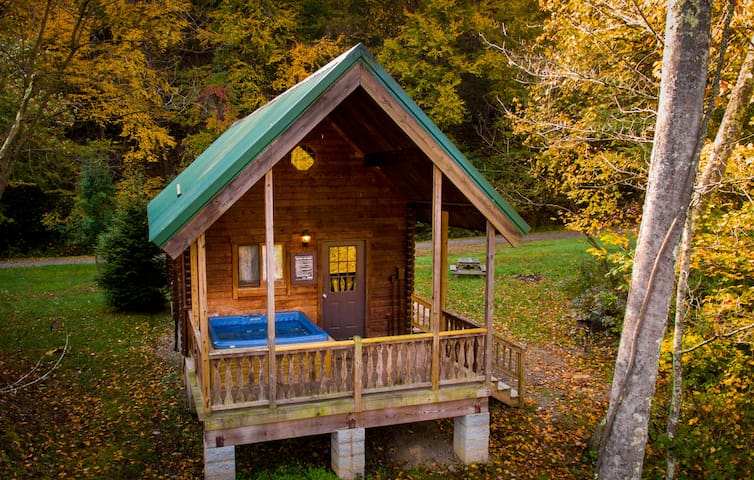 Log Cottage with Private Covered Hot Tub