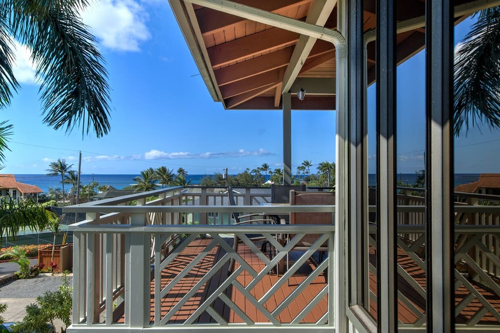 Covered lanai includes ocean views, dining for 8 and BBQ