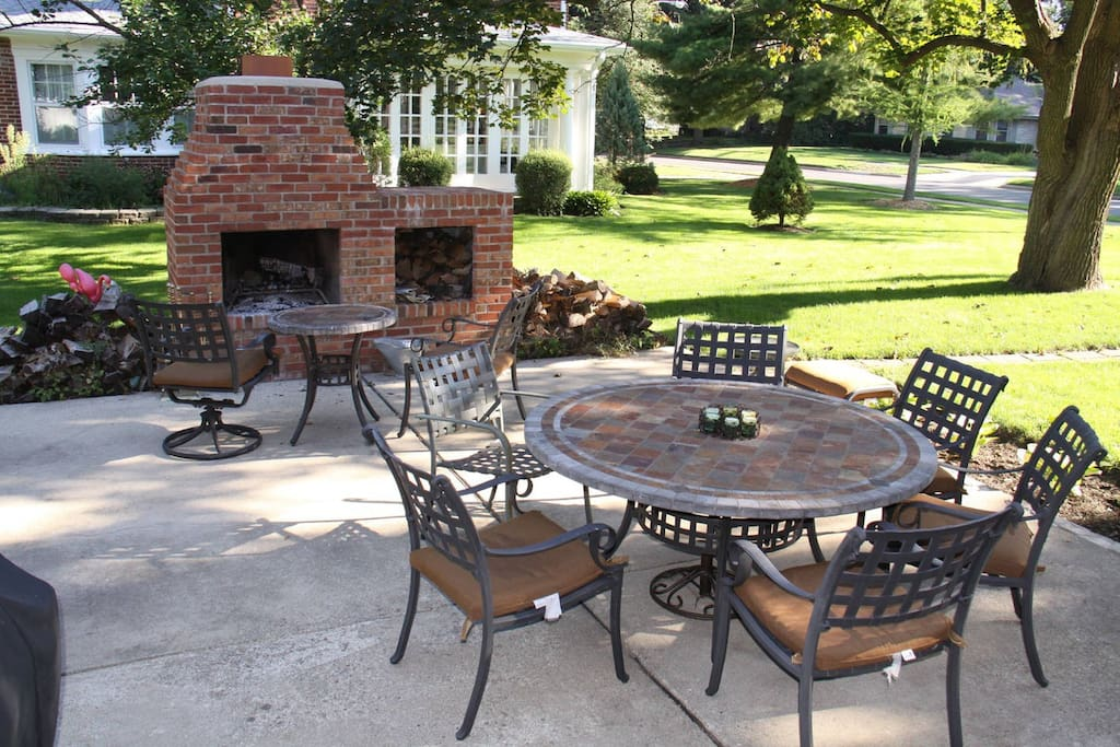 Enjoy the back patio and outdoor fireplace