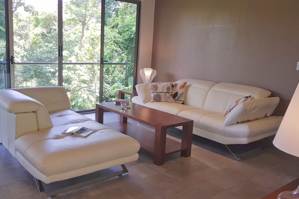Living with leather sofa and Smart-TV