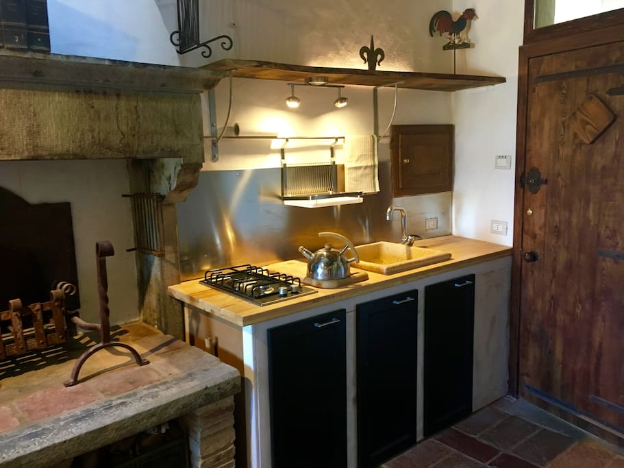 Kitchen area: Two hot plates, small convection oven/ microwave, fridge