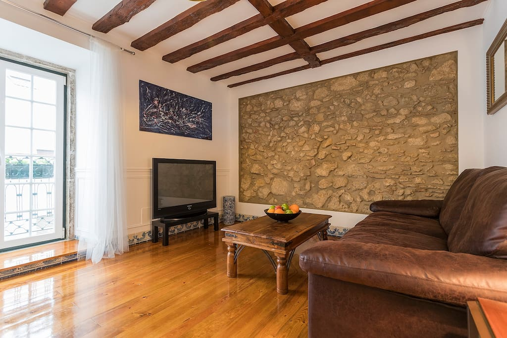 Living room,The stone in the wall was a medieval fortress.