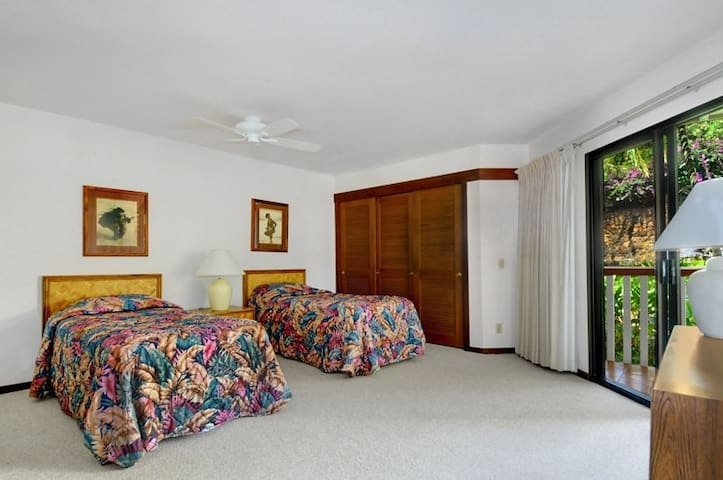 Twin beds can be configured to a king.  Has full bath attached, vanity in bedroom