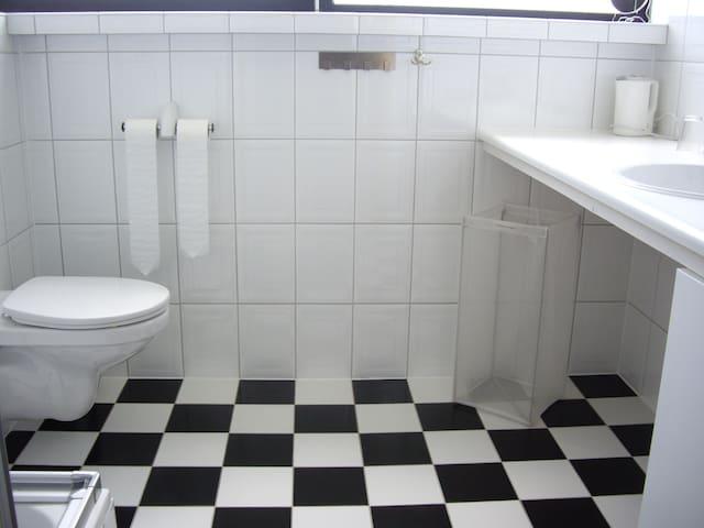 toilet, douche en wastafel