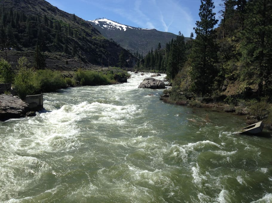 The Truckee River is running high - paddle fast! Practice swiftwater safety - wear your PFD.
