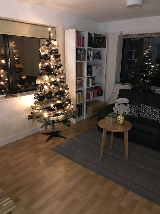 View of living room for the holidays