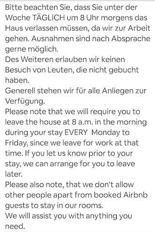 Unsere Hausregeln. Bitte aufmerksam lesen.  Our house rules. Please read through them thoroughly.