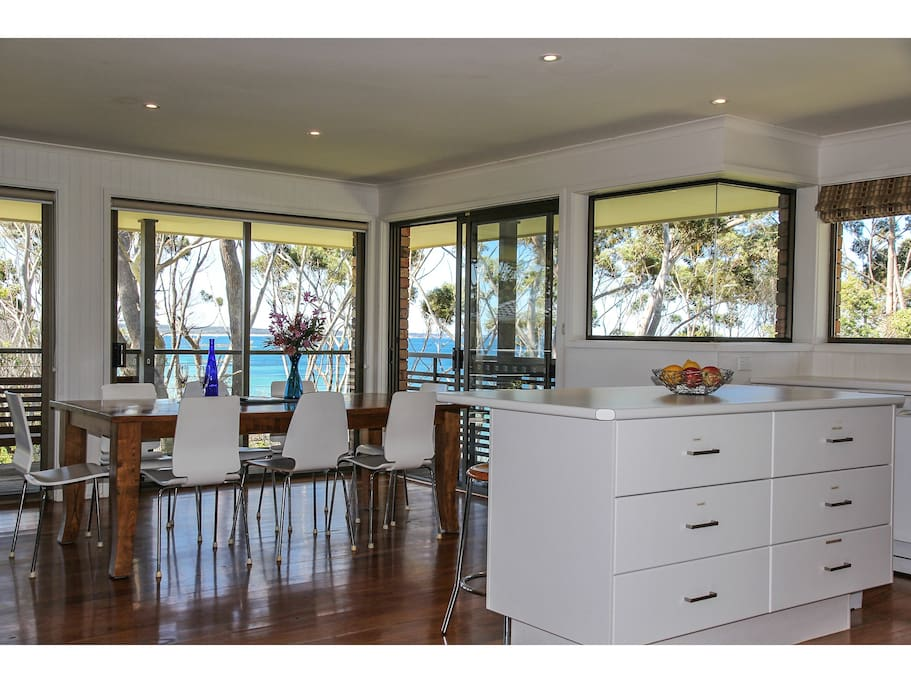 Modern & open living area upstairs-opens on to deck for perfect dining or drinks