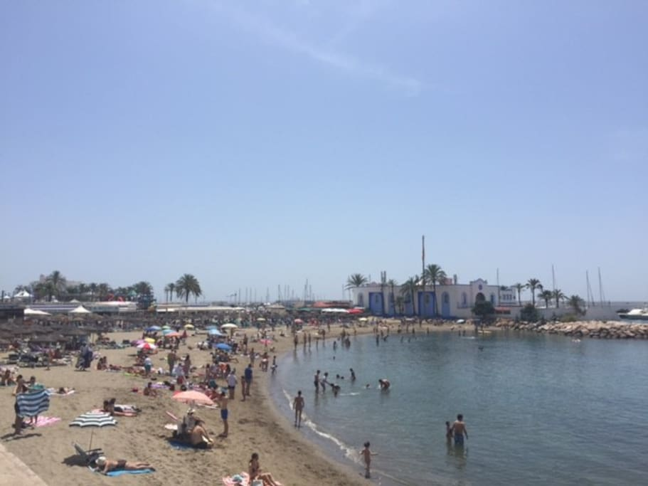 Marbella beach to the South west, in front of apartment ( 1 minute).