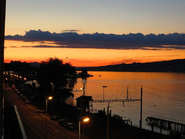 Spacious lake view apartment with sunny balcony - Wädenswil - Wohnung