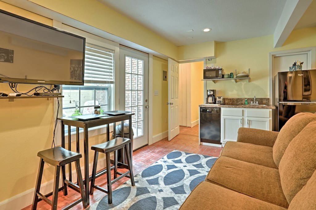 Kick back around the flat-screen TV - equipped with DirecTV and a DVD player.