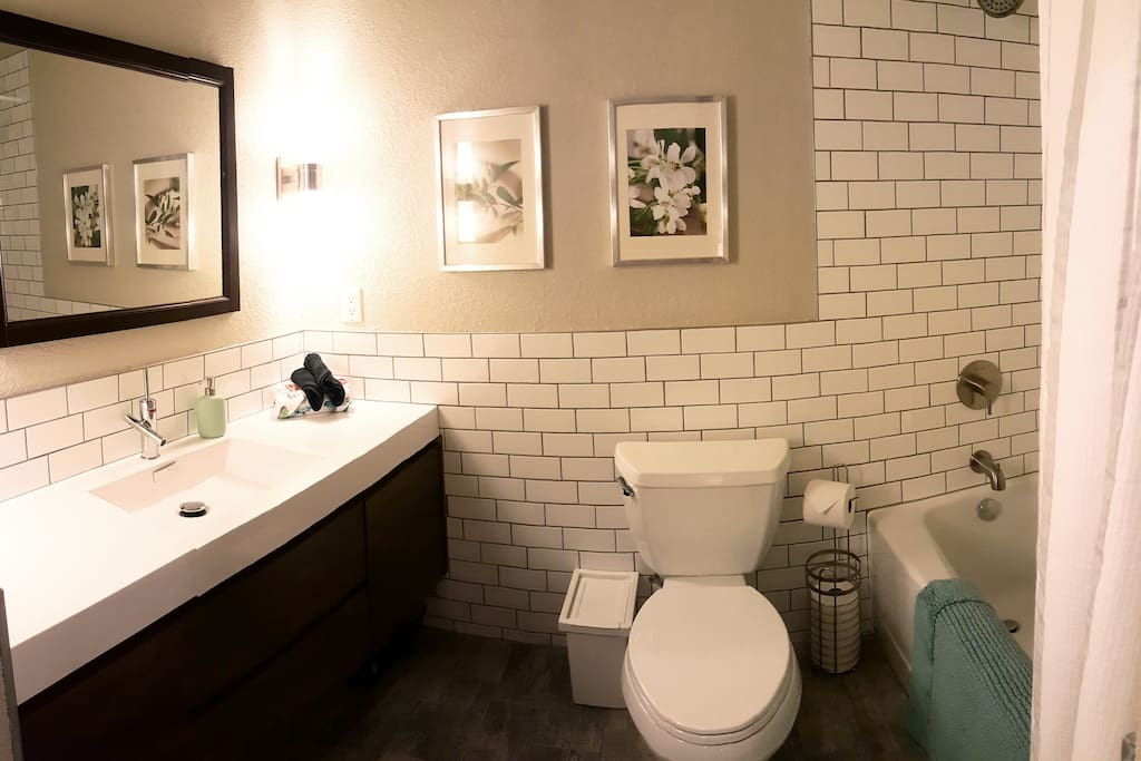 Perfectly calm bathroom has been completely renovated this year.  Actually, this fall.  Hope you love it like we do!