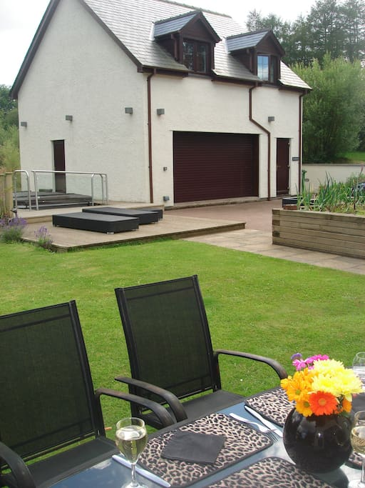 back garden with Jacuzzi pool ,gym and steam room