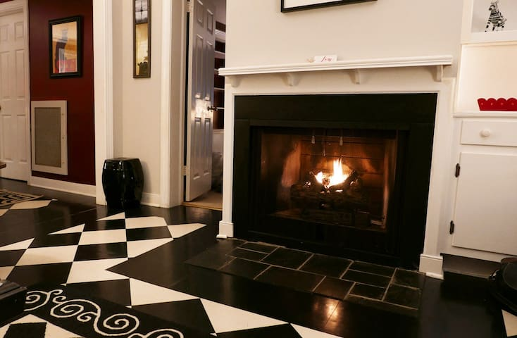 The winter months are a great time to stay at the Blue House as the fireplace makes the house warm and cozy.