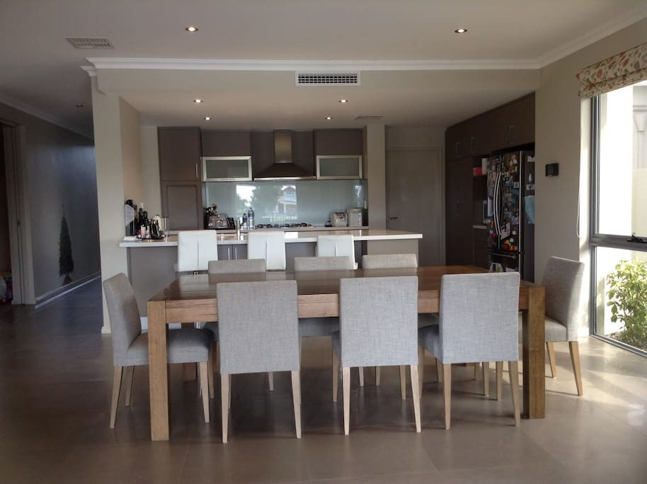 Open kitchen with large kitchen bench