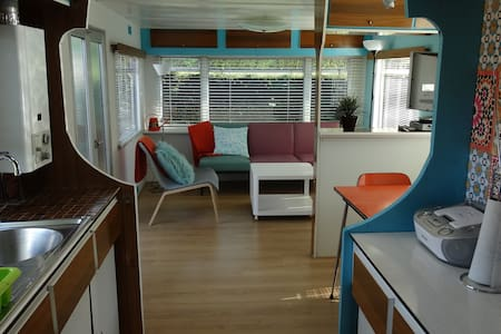 Relax in retro mobilhome at quiet camping