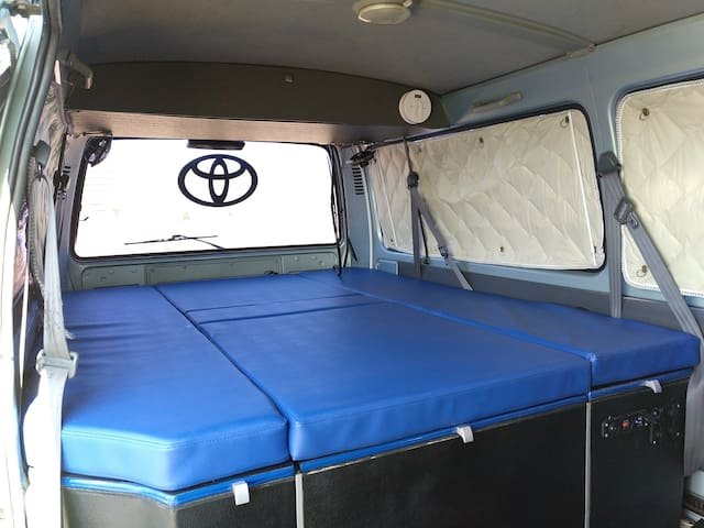 Spacious bed and plenty of storage space below the mattress...