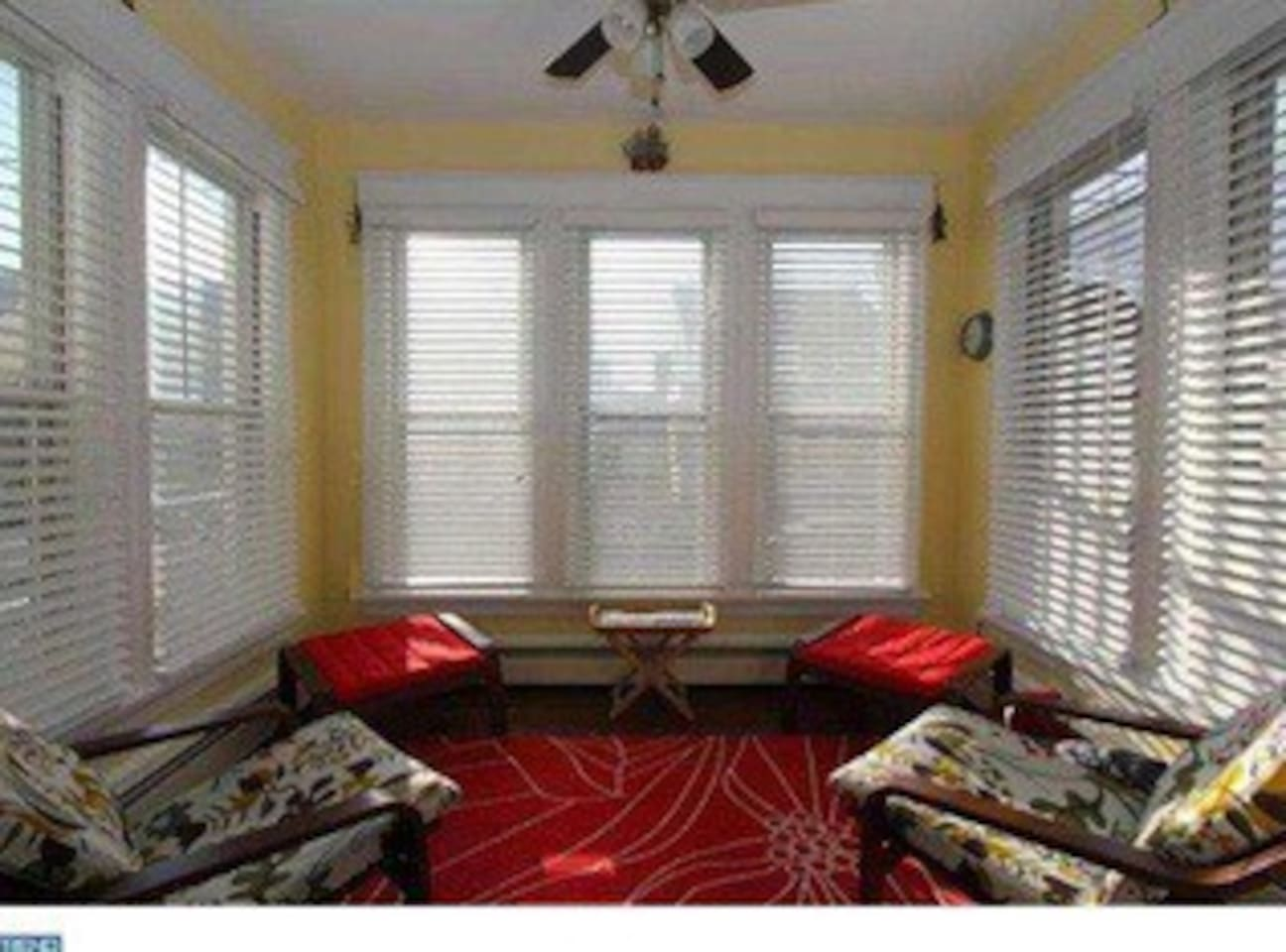 Sunroom great for morning coffee