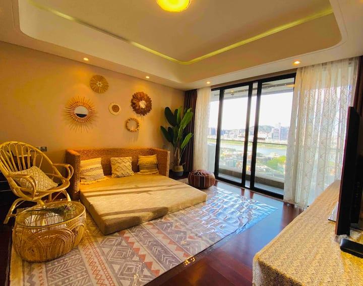 【拾趣】Room 5 :近华发商都、拱北口岸、港珠澳大桥口岸、长隆中信红树湾舒适大套房 空调有暖气