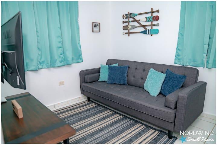 Habitación 3 - Family Room con Futón.  Smart TV con Roku.  También tiene consola de Aire Acondicionado.